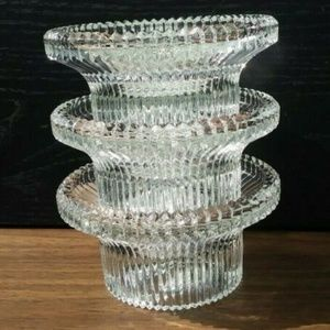 SET of 3 Clear Indiana Glass votive candle holders